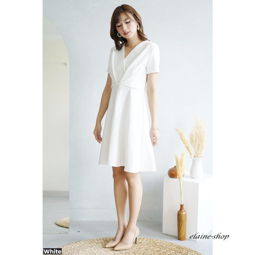Foto Produk DRESS MILEY FLARE / DRESS PESTA WANITA / DRESS CASUAL / DRESS SCUBA - Putih dari elaine-shop