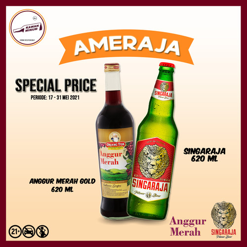 Foto Produk AMERAJA (Anggur Merah Gold 620mL + Singaraja 620mL) dari kawan minum