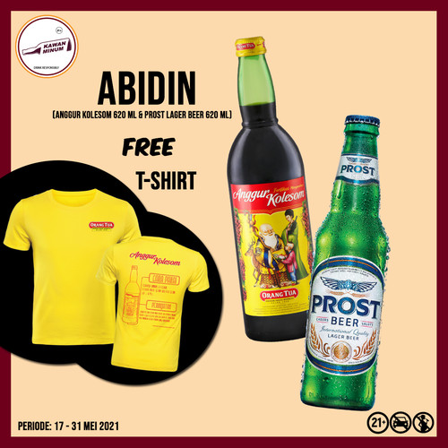 Foto Produk ABIDIN (Anggur Kolesom 620mL + Prost Lager Bremer) FREE T-shirt dari kawan minum