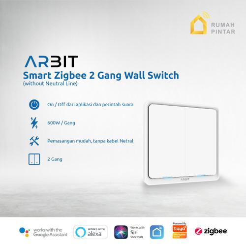 Foto Produk ARBIT Smart Home ZigBee Wall Switch 2 Gang Without Neutral line TUYA dari ARBIT Official Store