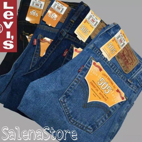 Foto Produk CELANA JEANS STRAIGHT STANDAR PANJANG PRIA/CELANA JEANS LEVI'S 505 REG - Hitam, 33 dari Kampung Jeans
