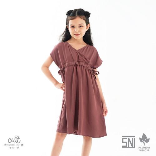 Foto Produk CUIT KIDS Premium Viscose Nanase Dress Anak Nami Series - Taupe, S dari Cuit Baby Wear