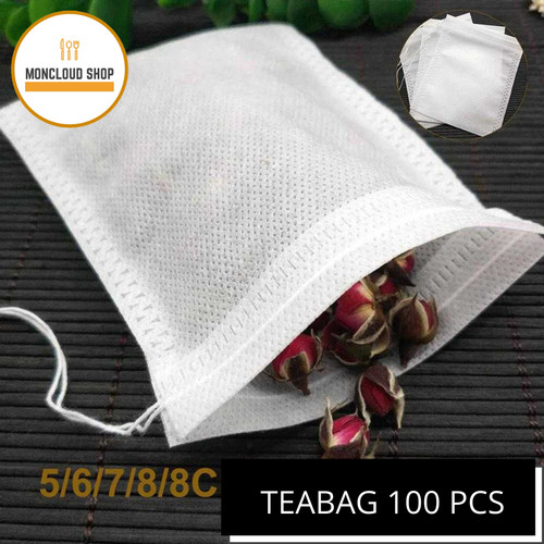 Foto Produk Kantong Teh Celup Kosong 100pcs Tea Bag Foodgrade Saringan Teh Kain - 5.5 x 7 cm dari Moncloud Shop