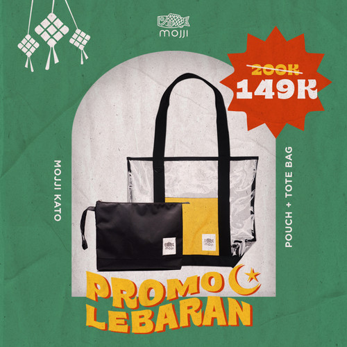 Foto Produk Bundle Tote Bag + Pouch Mojji KATO Transparent Tote Bag Bening dari Mojji