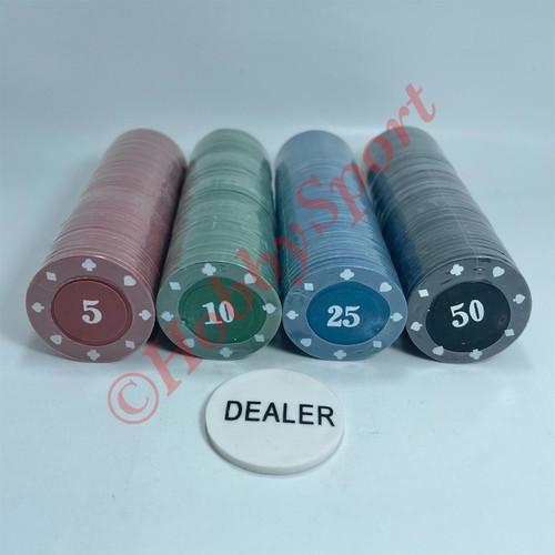 Foto Produk Koin Poker Chips Set / Best Quality Impor Mainan Chip isi 200 Bagus - No (5,10,25,50) dari HobbySport