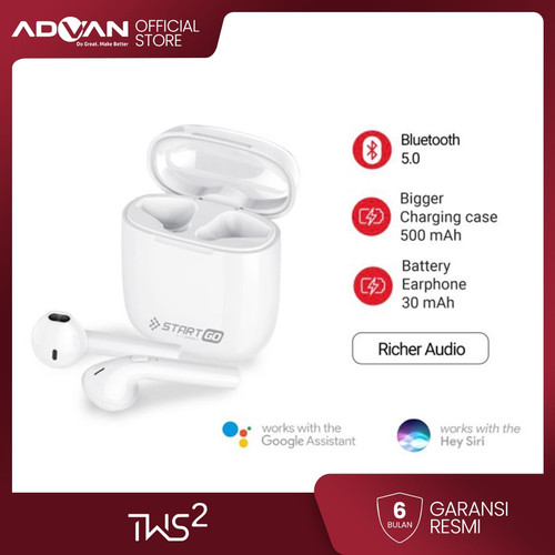Foto Produk Advan Start Go TWS 2 Earbuds Earphone Bluetooth Garansi Resmi dari Advan Official Store
