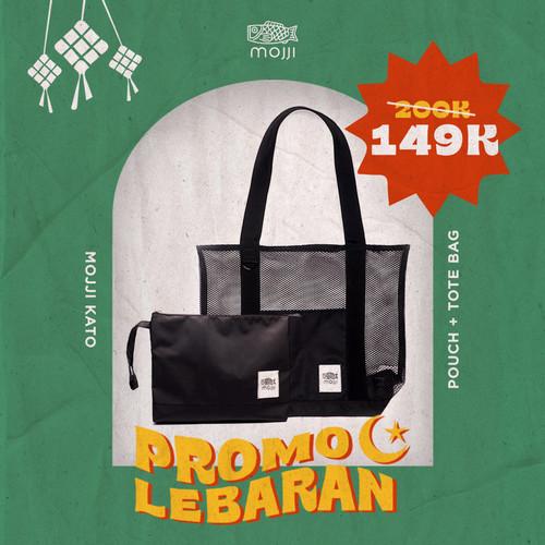 Foto Produk Bundle Tote Bag + Pouch Mojji KATO Mesh Tote Bag Jaring Hitam dari Mojji