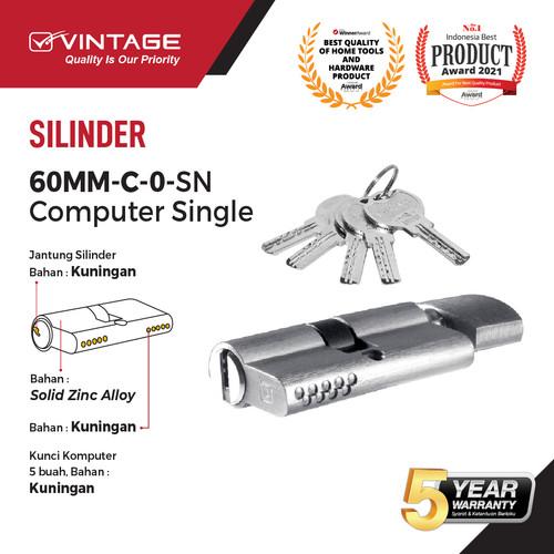 Foto Produk SILINDER KUNCI PINTU KOMPUTER 60 MM VINTAGE - C.O.SN dari VININDO OFFICIAL STORE
