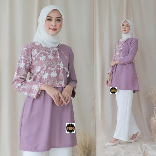 Foto Produk Atasan batik modern lengan panjang Wanita. - Purple, M dari Batikjoyoberkah