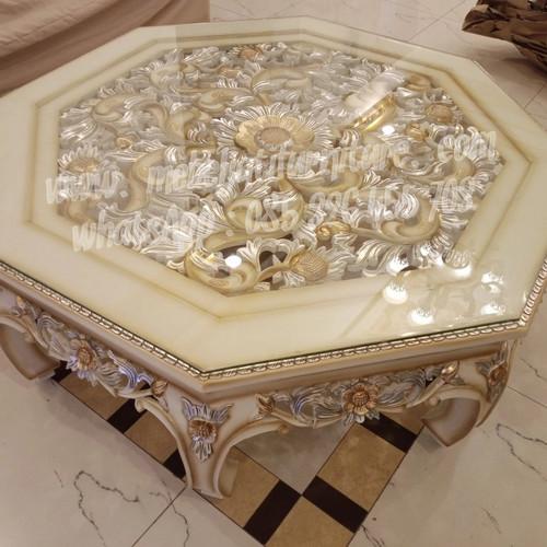 Foto Produk meja Ketapang segi 8 putih gold dari Mebel Jati Furniture Jepara