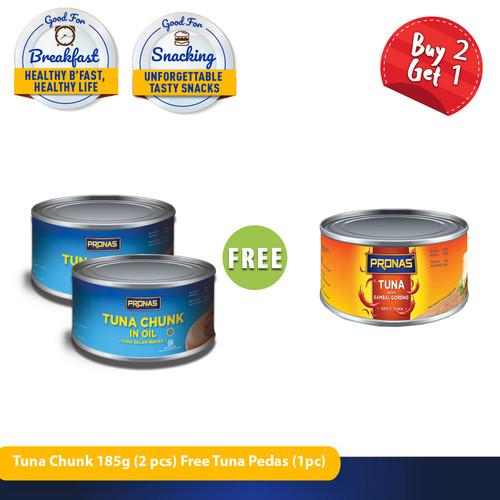 Foto Produk PRONAS Tuna Chunk In Oil 185g (2pcs) Free Tuna Sambal 185g (1pcs) dari Pronas Official Store