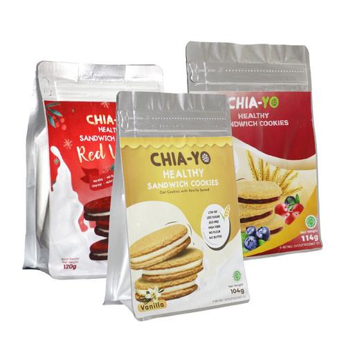Foto Produk Bundling Sandwich Cookies Red Velvet + Vanilla + Mix Berries dari Chia-Yo