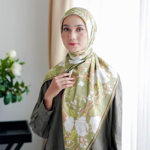 Foto Produk Hijab - SASKARA - Antique Bloom Olive Satin dari SASKARA