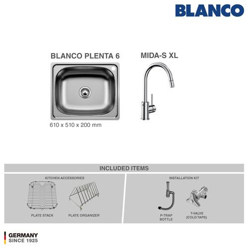 Foto Produk BLANCO Plenta 6 + Kran BLANCO MIDA Chrome dari BLANCO Official Store