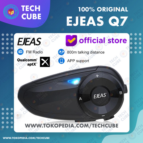 Foto Produk EJEAS Q7 Bluetooth Radio FM Intercom Helm 7 Rider Helmet Alt V6 PRO - Intercom Q7 dari Tech Cube