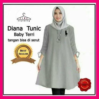 Foto Produk Diana Tunic, baju atasan wanita muslim jumbo, blouse tunic bigsize - Abu-abu, L dari Absolute Price
