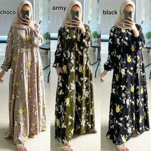 Foto Produk Home Dress Gamis Wanita Muslim Lengan Panjang Katun Rayon Elbina Dress - Cokelat dari Azza_storee