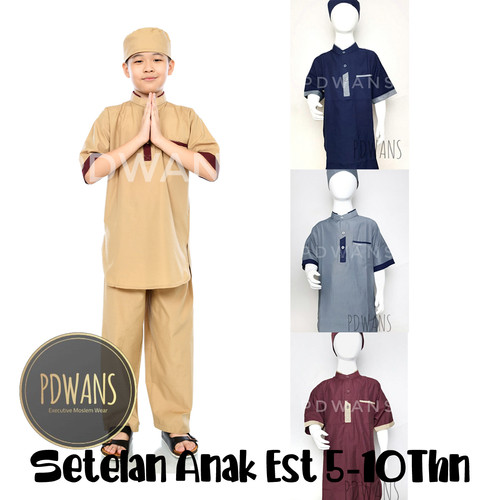 Foto Produk Setelan Pakistan Pendek Koko Anak Seri Katun Polos by PDWANS - Maroon, M dari PDWANS Official Store