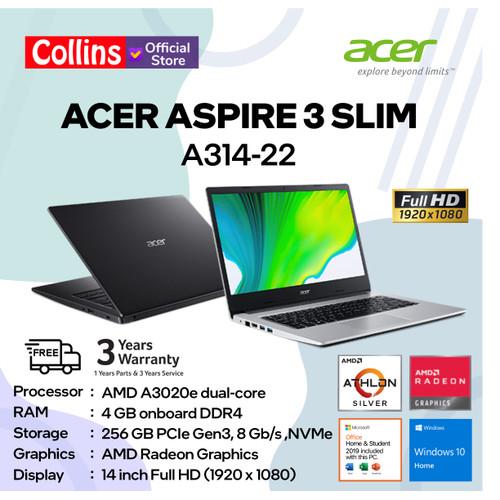 "Foto Produk Acer Aspire 3 Slim A314-22 - AMD A3020e 4GB SSD 256GB 14"" FHD W10 OHS dari Collins Official"