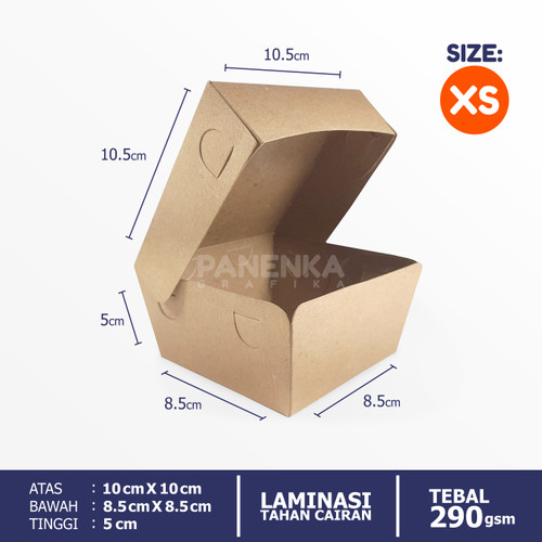 Foto Produk Paper Lunch Box Kraft Coklat ukuran s m l - XS dari Panenka Grafika