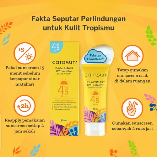 Foto Produk Carasun Solar Smart UV Protector SPF 45 PA++++ 30ml Halal - Carasun 30ml dari Mega Beauty Fashindo