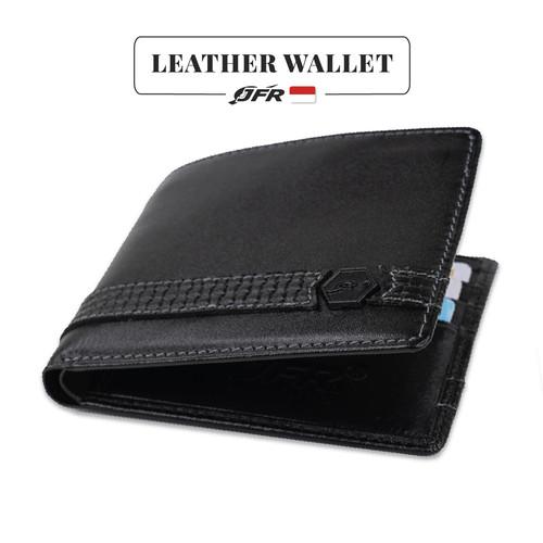 Foto Produk JFR Fashion Dompet Pria Bahan Kulit Asli JS-11 Tekstur Nafa - Hitam dari Jennifer Wallet
