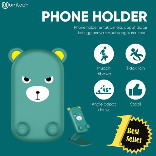 Foto Produk Phone Holder Universal Unitech Motif Kartun Stand Hp Meja Desktop - Kuning dari TokoUsbcom