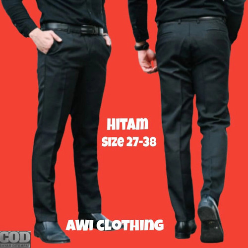 Foto Produk Celana bahan | kain | Formal kantor | slim fit | pria size 27-38 - Hitam, 29 dari AWI clothing store