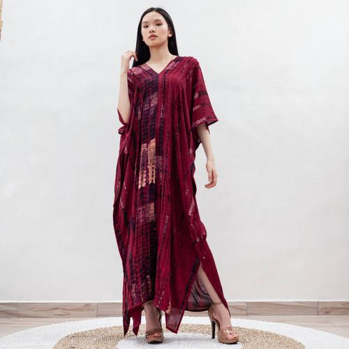 Foto Produk Thalisa Kaftan Maroon - Nyaman Rayon Premium Merah dari Heart Beads Official