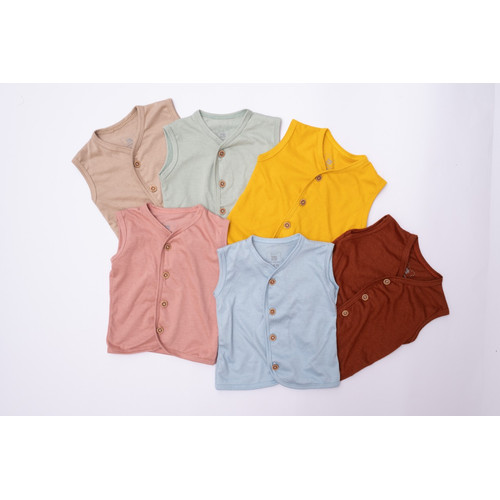 Foto Produk Sleeveless Button Set - Baju Anak 0-12 bulan - Baby Loop - BabyLoop - Beige, 6-12 Month dari Baby Loop Official Store