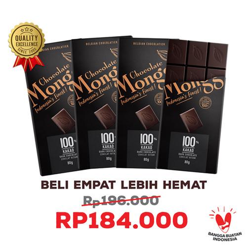 Foto Produk 3x Dark Chocolate 100% + Gratis 1 l Chocolate Monggo 80gl Coklat Hitam dari CHOCOLATE MONGGO