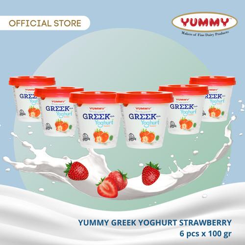 Foto Produk Yummy Greek Yoghurt Strawberry 6 x 100g dari YUMMY Dairy