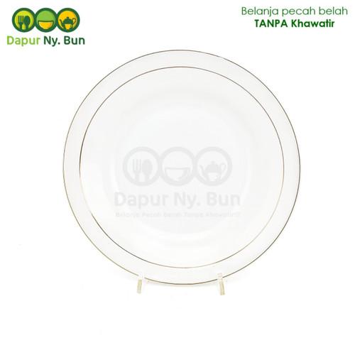 """Foto Produk Piring Putih List Emas / Ukuran 22,5cm / Piring Makan 9"""" dari Dapur Ny.Bun"""