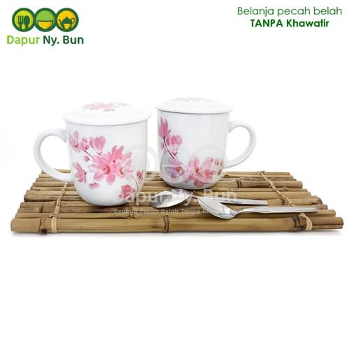 Foto Produk Zetta Couple Gelas+Tutup+Sendok/Cangkir Kopi Teh Set Isi 2/Mug Cantik dari Dapur Ny.Bun