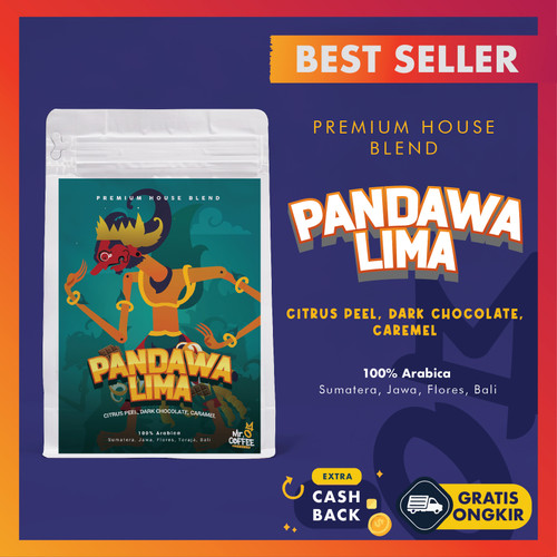 Foto Produk PREMIUM! Kopi House Blend PANDAWA5 100% Biji Kopi Arabika Specialty - BIJI SANGRAI dari Mr. O Coffee