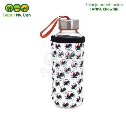 Foto Produk 1 Pc Botol Minum Kaca + Pouch AYAM JAGO Ukuran 420ml / Ukuran Sedang dari Dapur Ny.Bun