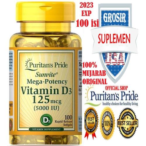 Foto Produk Puritan Vitamin D3 5000 IU 200 Softgels - XS dari SUPLEMEN SEHAT 99