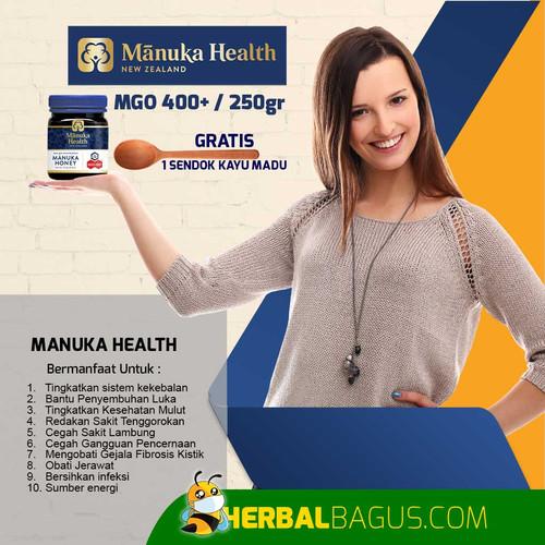 Foto Produk Manuka Health MGO 400+ Madu Manuka Untuk Sistem Kekebalan Tubuh - 250gr dari herbalbaguscom