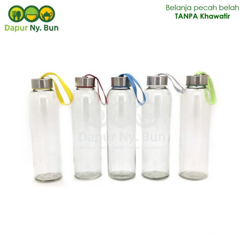 Foto Produk Botol Minum Kaca / Ukuran 500ml / Round Bottle / Besar dari Dapur Ny.Bun