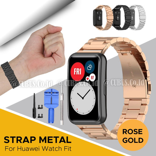Foto Produk Strap Bracelet Stainless Steel Metal For Huawei Watch FIT - Rose Gold dari Cubus_Co_ID