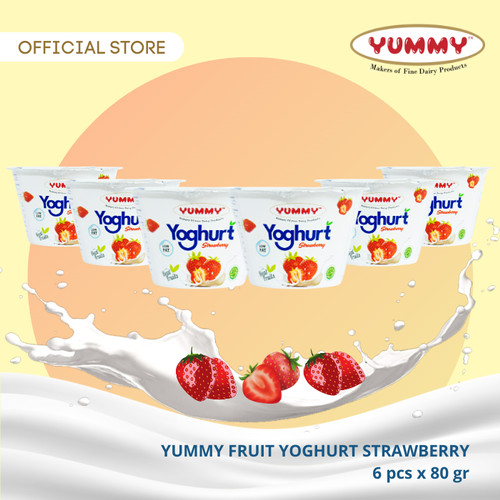 Foto Produk Yummy Fruit Yoghurt Strawberry 6 x 80g dari YUMMY Dairy