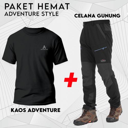 Foto Produk Paket Kaos dan Celana Gunung Outdoor Bundling Hemat Pakaian Adventure - M, Random dari Antares Star