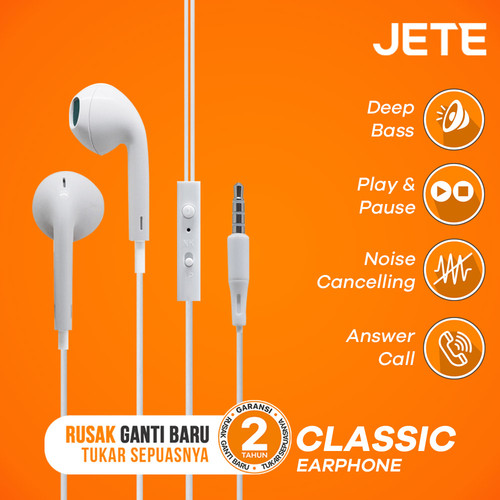 Foto Produk Headset | Handsfree | Earphone JETE CLASSIC - Hitam dari JETE Official Surabaya