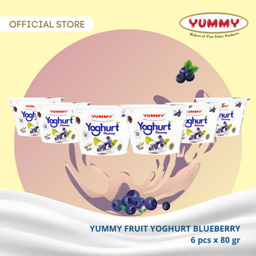 Foto Produk Yummy Fruit Yoghurt Blueberry 6 x 80g dari YUMMY Dairy