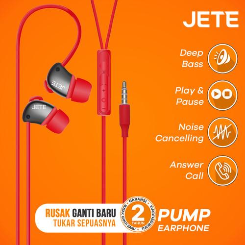 Foto Produk Headset   Headphone   Handsfree   Earphone JETE PUMP Super Bass - Putih dari JETE Official Surabaya
