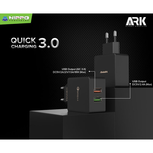 Foto Produk Hippo Ark 2 Adaptor Charger Quick Charge 3.0 TOTAL 30 W - Hitam, Adaptor Only dari Hippo Official Store