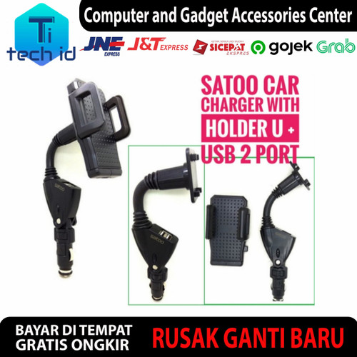 Foto Produk Satoo Car Charger 2 Port USB With Phone Holder charger mobil dari tech_id