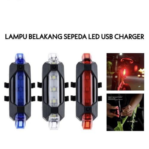 Foto Produk Lampu belakang Sepeda LED Rechargeable USB bicycle light - Putih dari Staven