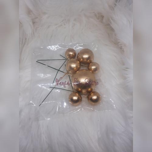 Foto Produk Topper Cake Bentuk Bola Silver Emas Mix Dekorasi Kue - GOLD dari Vania ES Store