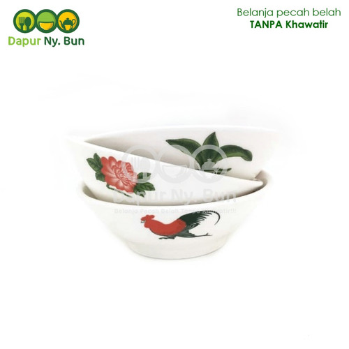 Foto Produk 1 Pc Mangkok Baso Motif Ayam Jago Bunga Ukuran 7Inch dari Dapur Ny.Bun
